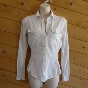 James Perse Off White Sheer Side Panel Shirt XS